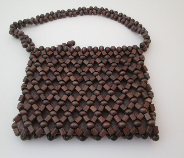 Vintage Wood Bead Bag, 1960 Bohemian Hippie Festival purse - Late Boomer Vintage