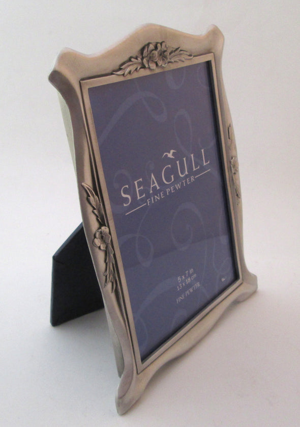 Vintage 5x7 Seagull Pewter Picture Frame wedding photo silver roses and ribbons - Late Boomer Vintage