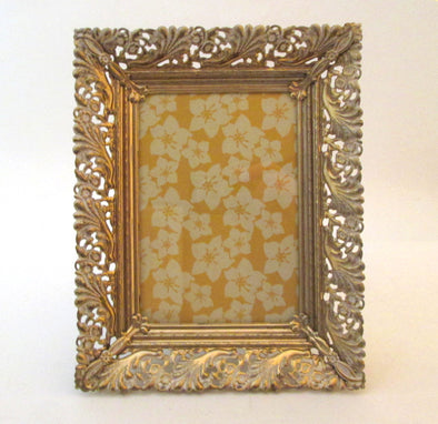 Vintage 5x7 Wedding Photo Frame  7x9 ornate filigree metal picture frame in gold and white French country boho decor - Late Boomer Vintage