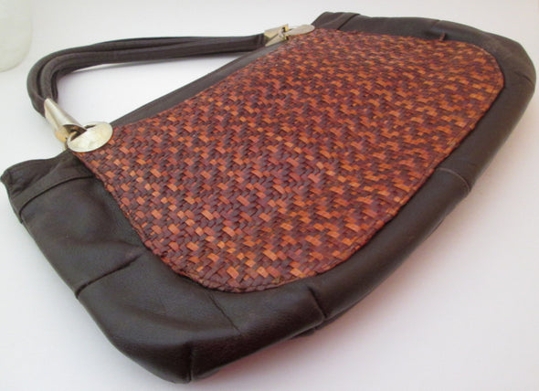 Vintage 1970s Boho Leather Handbag The Bay made in Spain, bohemian hippie large leather messenger bag tote - Late Boomer Vintage