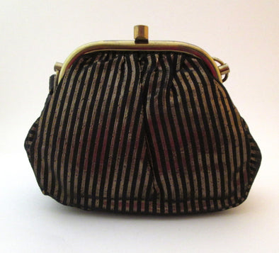Disco Vintage 1970s Gold Lame Black Metallic Fabric Small Evening Bag jewel tone stripes - Late Boomer Vintage
