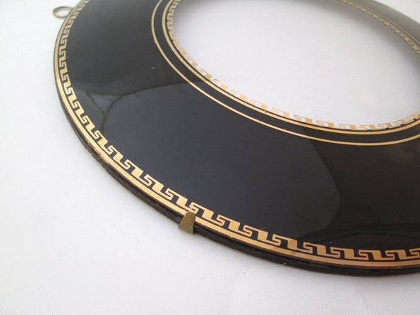 Reverse Painted Bubble Glass 10 inch round black and gold picture frame - Late Boomer Vintage