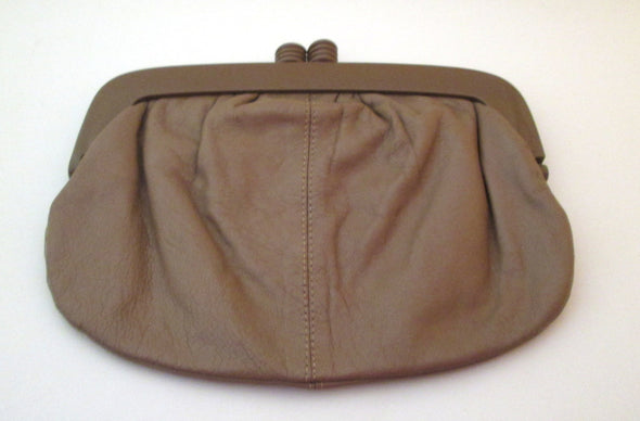 Vintage 1980s Eatons Leather Makeup Bag, Made in Italy Leather Clutch Cosmetic Bag toiletry travel bag make up purse taupe leather clutch - Late Boomer Vintage