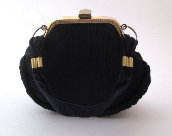 Vintage 1970s Navy Blue fabric mini purse small evening bag - Late Boomer Vintage