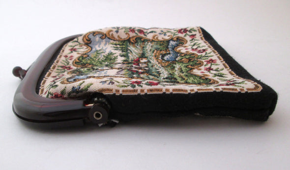 Vintage 1970s tapestry fabric small cosmetic makeup bag clutch purse with lucite frame - Late Boomer Vintage