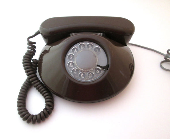 Vintage 1970s Rotary Dial Brown Telephone Pancake Phone Bell Canada Working telephone retro decor - Late Boomer Vintage