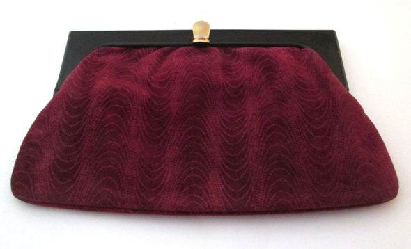 Vintage 1970s Suede Clutch Bag, Made in Italy Burgundy Suede Cosmetic Travel Makeup Bag - Late Boomer Vintage