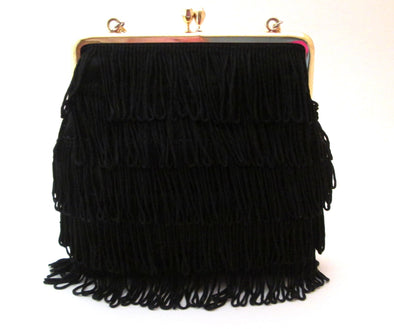 1970s Black Fringe Bag, Vintage Flapper Purse, Basic Black Handbag, boho fringe purse with chain
