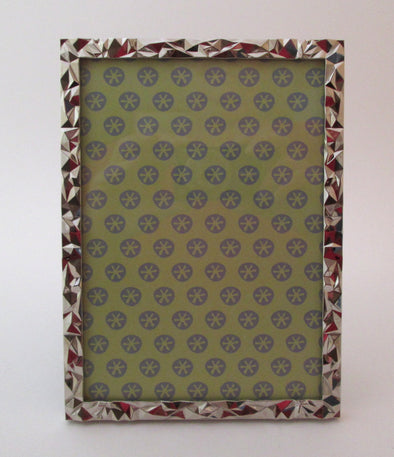 Vintage Bowring 5x7 silver picture frame geometric design wedding photos - Late Boomer Vintage