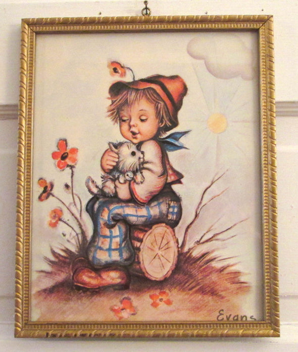 8x10 framed Vintage Childrens Art Print Evans little boys room nursery decor child with dog - Late Boomer Vintage