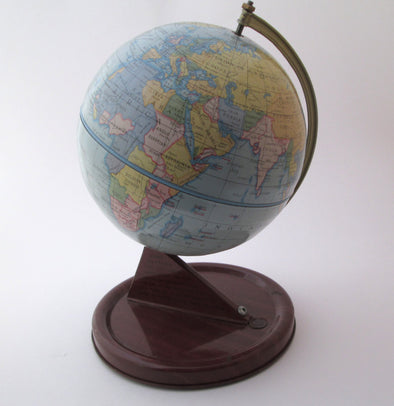 "Vintage 1940s World Globe Chad Valley 7"" metal planet earth globe office classroom decor Made in England - Late Boomer Vintage"