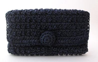 Vintage 1950s navy blue raffia straw clutch bag summer resort wear purse - Late Boomer Vintage