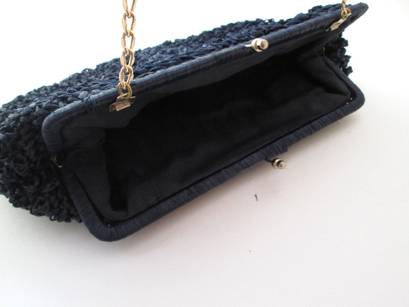 Vintage 1950s raffia straw handbag navy blue nautical style summer resort wear purse - Late Boomer Vintage