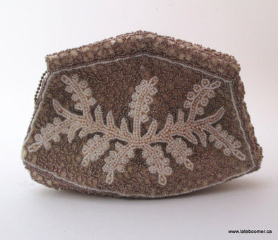 Vintage European bead bag 1950s gold and white beaded small clutch purse - Late Boomer Vintage