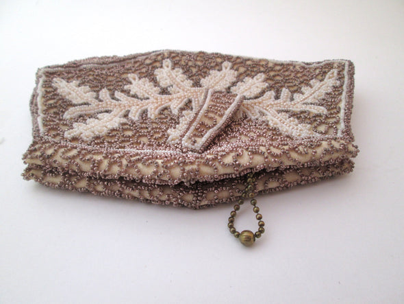 Vintage Belgium bead bag 1950s MCM gold and white beaded small clutch purse vtg European - Late Boomer Vintage