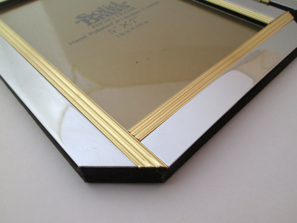 Vintage Solid Brass 5x7 double picture frame silver and gold hinged photo frame - Late Boomer Vintage