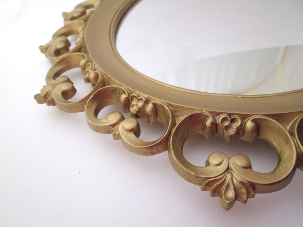 Syroco Mirror 1950s Oval Mirror French Country boho decor, ornate gold mirror - Late Boomer Vintage