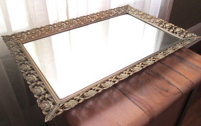 "Boho Filigree Metal 18"" Vanity Tray Vintage mirrored dressing table tray - Late Boomer Vintage"