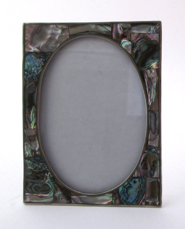 Alpaca Mexico Vintage 4x6 Paua Shell silver Picture Frame for 3.5x5 photos beach house decor - Late Boomer Vintage