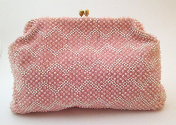 Vintage Pink White Plastic Bead Handbag, Kawaii bag, Pink Bead Purse, chenille handbag, baby pink bag, large bead hand bag, white bead bag - Late Boomer Vintage