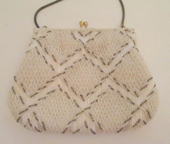 Vintage White Bead Wedding Purse 1960s formal evening bag Gatsby wedding purse - Late Boomer Vintage