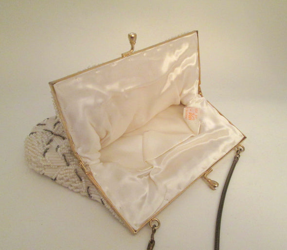 Vintage Wedding Purse 1960s white bead formal evening bag Gatsby wedding purse - Late Boomer Vintage
