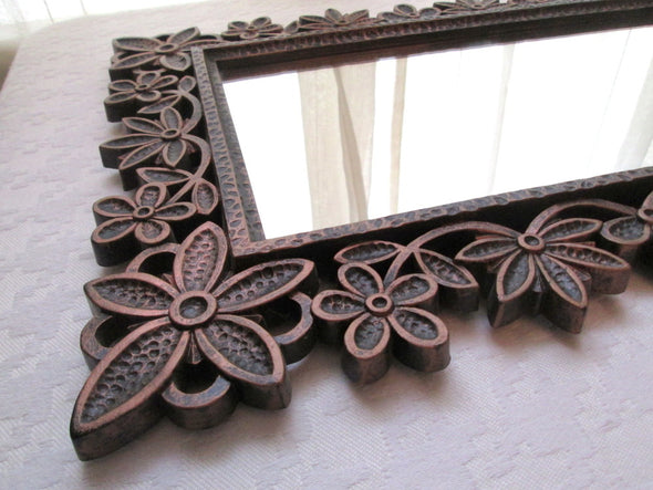 Vintage Syroco Mirror 1970s, Flower Power Decor rectangle wall mirror - Late Boomer Vintage