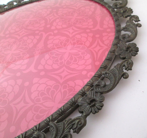 "Vintage 1970s Oval 15"" Picture Frame for 9x12 photos ornate baroque Italy silver metal boho decor filigree - Late Boomer Vintage"