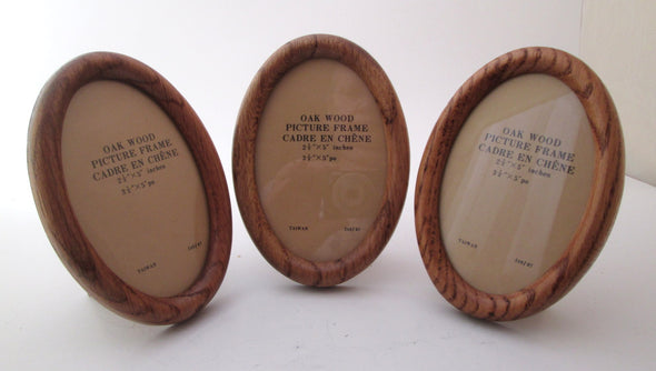 Vintage Wood Frame set of 3 small oval frames 3.5x5 solid oak photo rustic picture frame - Late Boomer Vintage