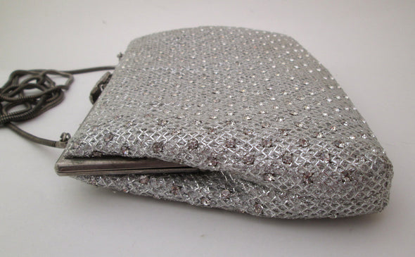 Silver Lame Handbag Purse, Vintage 1970s Metallic Disco Bag, Silver Rhinestone Purse, Cross Body Bag, silver disco evening bag, new years eve bag - Late Boomer Vintage