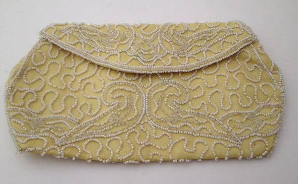 Vintage 1950s Walborg Yellow Envelope Clutch Bag white beaded fabric purse makeup bag - Late Boomer Vintage