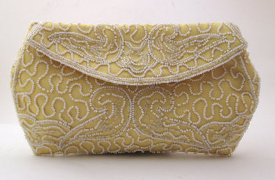 Vintage 1950s Walborg Yellow Clutch, Belgium Bag, white beaded purse, bead makeup bag, white Beaded Bag, envelope clutch, yellow purse
