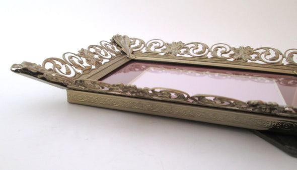 5x7 ornate filigree metal vintage wedding photo frame, ornate gold and white metal picture frame - Late Boomer Vintage