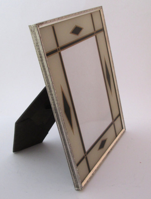 1940s Art Deco Vintage 7x9 frame reverse painted glass photo frame for 4x6 photos - Late Boomer Vintage