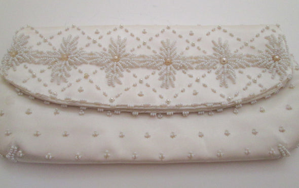 1960s Vintage White Bead Envelope Clutch Beaded Bridal Wedding Bag - Late Boomer Vintage