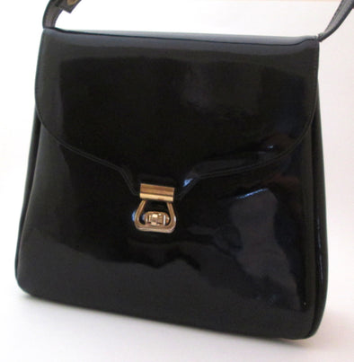 Vintage 1970s Black Vinyl Handbag Kelly Bag, faux patent leather vegan bag, black vinyl purse, adjustable strap purse, basic black bag - Late Boomer Vintage