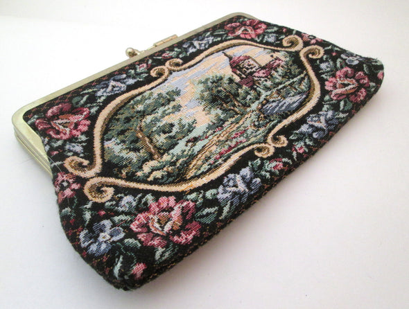 Vintage Tapestry Bag Clutch, large cosmetic travel bag, floral tapestry 3 section purse, makeup bag, petit point purse - Late Boomer Vintage