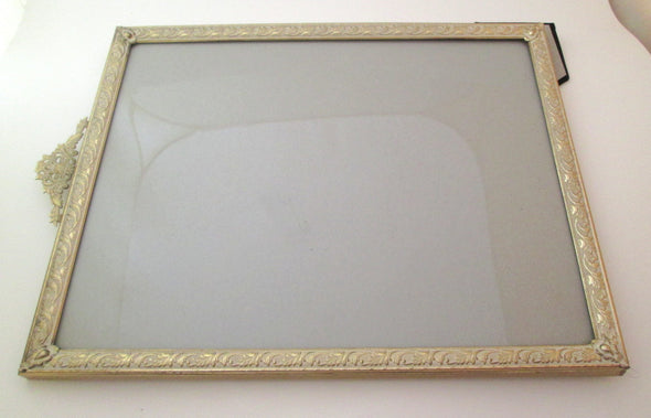Vintage Large 11x14 Metal Picture Frame gold and white Art Nouveau style Wedding Frame boho decor picture frame - Late Boomer Vintage