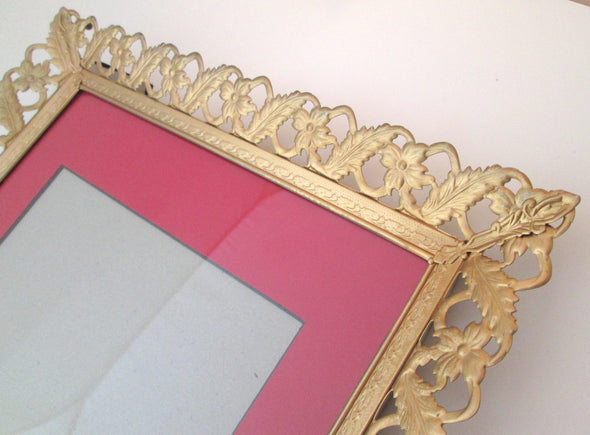 Vintage 11x14 Large Ornate Filigree Photo Frame gold metal picture frame French Country boho decor wedding - Late Boomer Vintage