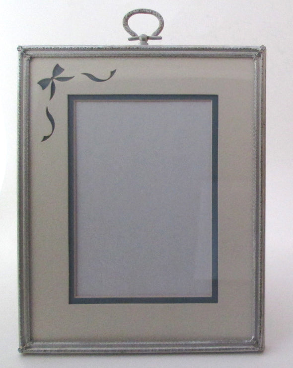Vintage 8x10 silver metal picture frame Art Deco boho style 1950s photo frame with double mat wedding table - Late Boomer Vintage