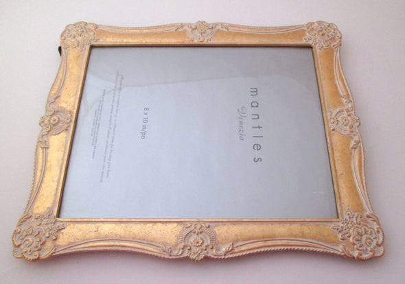 8x10 frame Mantles Venezia Hudson's Bay white and gold metal picture frame boho wedding family portraits - Late Boomer Vintage