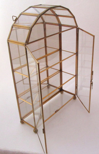 Vintage Glass Brass Curio Cabinet Display Case with doors small glass shelf trinket display miniatures - Late Boomer Vintage