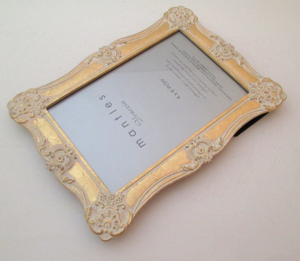 4x6 frame Mantles Venezia Hudson's Bay white and gold metal picture frame boho wedding family portraits - Late Boomer Vintage