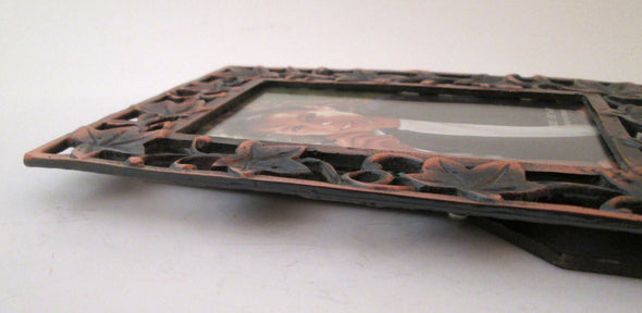 Vintage 3.5x5 cast metal picture frame copper maple leaf rustic cottage decor photo frame - Late Boomer Vintage