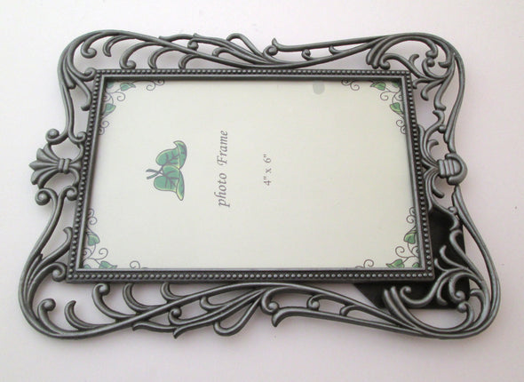 Vintage 4x6 frame silver metal filigree frame ornate boho decor picture frame - Late Boomer Vintage