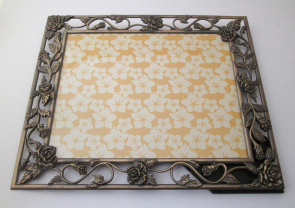 Vintage 10x12 cast metal roses picture frame for 8x10 photos bronze gold flowers boho decor wedding frame - Late Boomer Vintage
