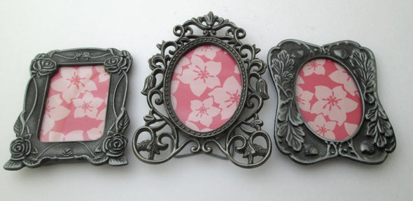 Small Frame Set of 3 Vintage Metal Frames ornate mini picture baby shower gift - Late Boomer Vintage