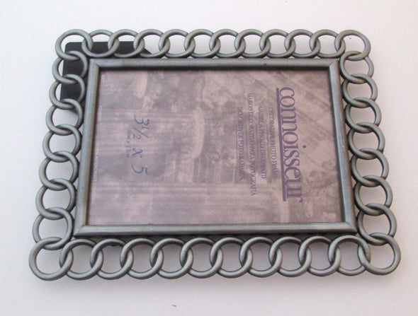 Retro 3.5x5 frame cast metal Vintage small picture frame mod decor - Late Boomer Vintage
