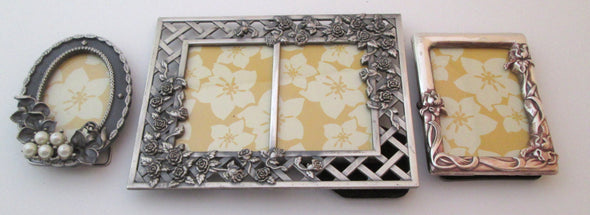 Vintage Set of 3 Mini Photo frames 1.5x2.5 Silver Metal Picture Frames baby shower gift - Late Boomer Vintage