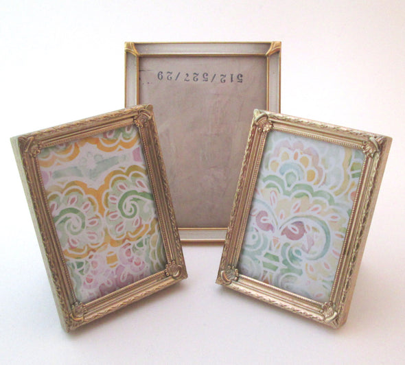 Set of 3 Vintage Metal Frames bubble glass Denmark ornate 3x4 small picture baby shower gift - Late Boomer Vintage